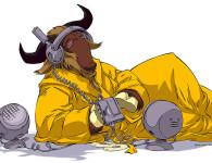GNU, o mascote, ouvindo um som (fonte http://commons.wikimedia.org/wiki/File:Gnu-listen-half.jpg)