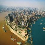 3004_01 Confluência dos rios Jialing e Yangtze em Chongqing, China